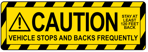Caution - Vehicle Stops Decal | Banners.com