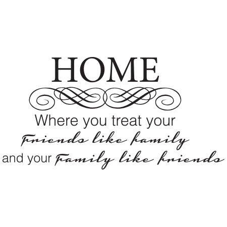 Home where you treat  your Friends like Family andyour Family like Friends Wall Graphic