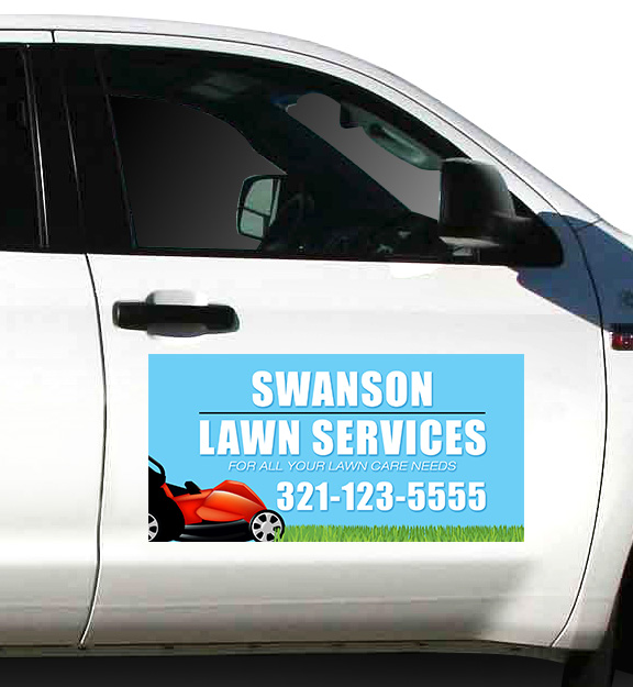 Lawn Services Magnetic Sign Example | Banners.com