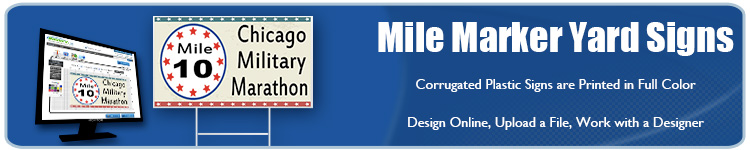 Custom Mile Marker Yard Signs for Running Events from Banners.com