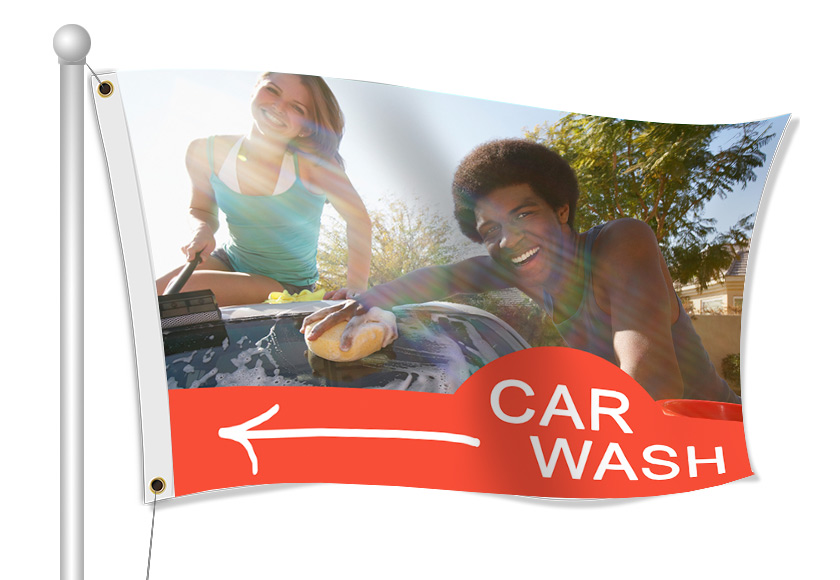 Custom Printed Car Wash Fabric Flag | Banners.com
