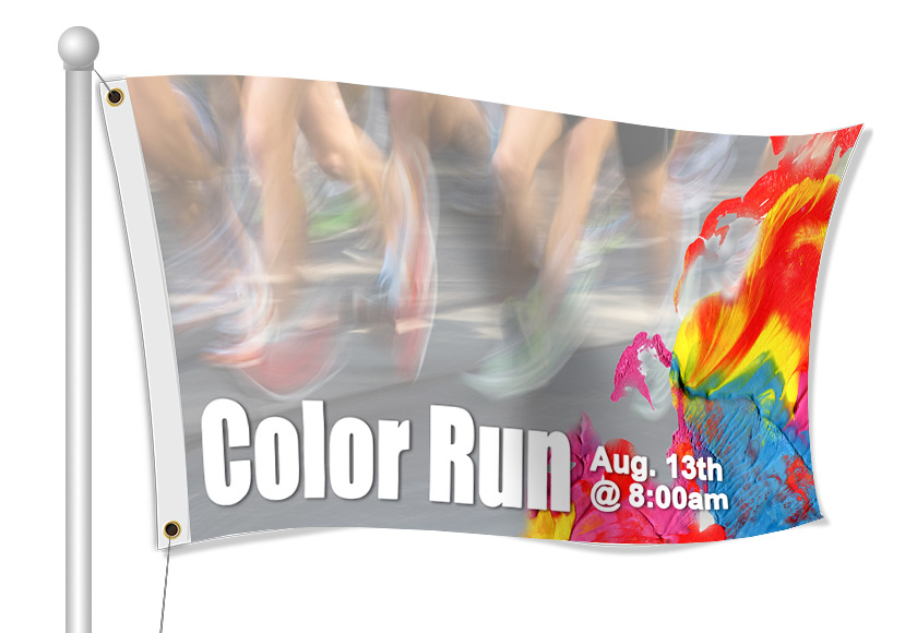 Color Run Fabric Flags | Banners.com