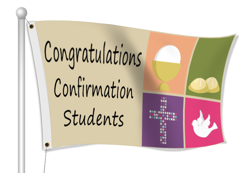 Fabric Flags for Confirmation | Banners.com