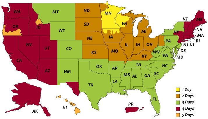 Wholesalebannezs.com UPS Ground Shipping Map - MN