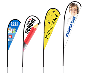 Back to School Tear Drop Feather Flags | Banners.com