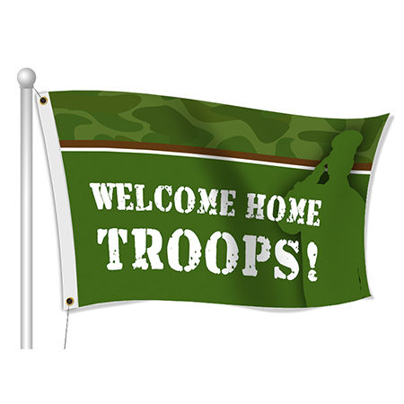 Custom Printed Welcome Home Fabric Flag | Banners.com