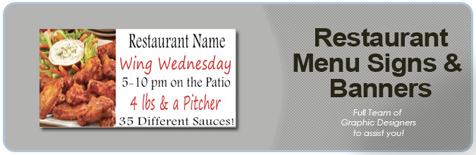 Restaurant Menu Signs and Restaurant Menu Banners