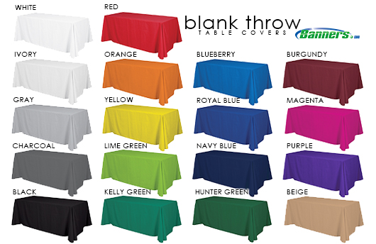 Blank Throw Table Cover Colors | Banners.com